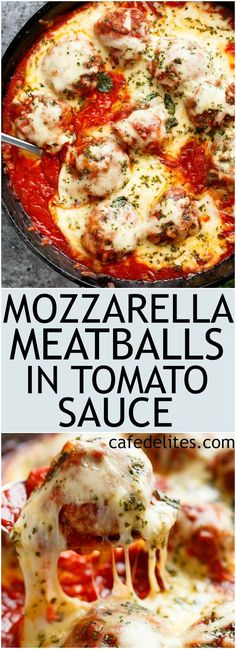 Low Unwanted Fat Cooking For Weightloss Mozzarella Meatballs In Tomato Sauce Are Juicy And Soft Meatballs, Simmered In A Homemade Tomato Sauce And Topped With Melted Mozzarella Tomato Sauce For Meatballs, Cheesy Meatballs, Mozzarella Stuffed Meatballs, Meatball Sauce, Meatball Recipes, Beef Recipes, Italian Meatballs, Chicken Recipes, Beef Dishes