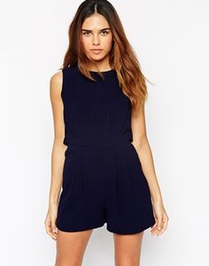ASOS Romper with Open Back and Pleat Detail Combishort Dos Nu 1e1d4653580