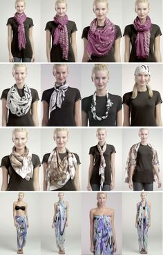 How to Tie a Scarf, 4 Scarves, 16 Ways.