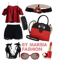 """Black Red"" by marsia-fashion on Polyvore featuring Anna October, Chicwish, Schutz, Bling Jewelry, Carrera y Carrera, Prada, Estée Lauder and Yves Saint Laurent"
