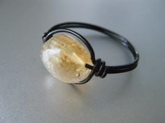 Citrine Ring  Wire Wrapped with Black Wire  Black by JbellsGems, $9.00