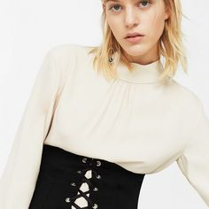 Lace Up Sash from Mango in Black.