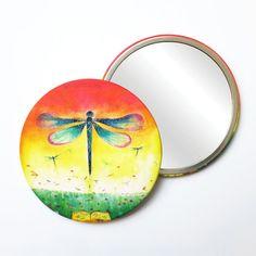 Round Pocket Makeup Mirror - Dragonflies Free Black, Black Mirror, French Artists, Dragonflies, Small Gifts, Pouch, Velvet, Pocket, Makeup