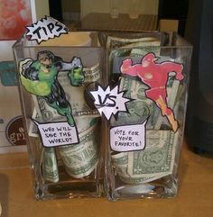 A local coffee place set up these competing tip jars a while back. After Flash vs. Green Lantern it was Supergirl vs. Batgirl, and then when The Avengers came out they switched to Hulk vs. Captain America.