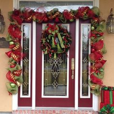 Christmas door garland I made for a customer.  She already had the wreath.
