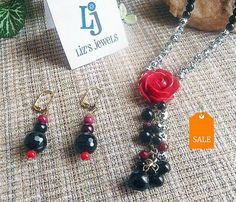 Rose Tassle Pendant Necklace and Tiered Beaded by JollieSweets