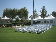 Wedding ceremony/reception with 20x20 tents and window sidewalls.