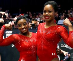A picture of Simone Biles / Gabby Douglas. This site is a community effort to recognize the hard work of female athletes, fitness models, and bodybuilders. Gymnastics History, Gymnastics Hair, Gymnastics World, Artistic Gymnastics, Olympic Gymnastics, Elite Gymnastics, American Gymnastics, Gymnastics Pics, Olympic Champion