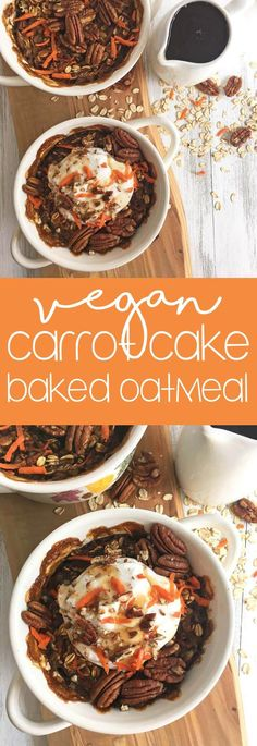 Carrot Cake Baked Oatmeal: This is a healthy, vegan twist on the classic dessert that you can eat for breakfast! Can be made gluten-free using gluten-free oats. via @karissasvegankitchen