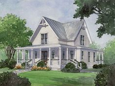 Four Gables and lots of porches----make windows floor to ceiling and this will be my dream house!  Plan #1832