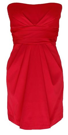 Strapless red cocktail dress with pockets - $35.99 @ 2cute2trendy.com   In navy for a bridesmaids dress?
