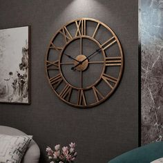 Speculo - Mirror Effect Wall Stickers Pallas - Vintage Wall Clock 3d Mirror, Mirror Effect, Big Wall Clocks, Wall Clock Art, Wall Clock Bedroom, Vintage Wall Clocks, Kitchen Wall Clocks, Antique Clocks, Wall Clock Design