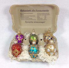 6 Faberge Inspired Polish / Poland Glass Egg Ornaments  Swiezych Jaj Crate