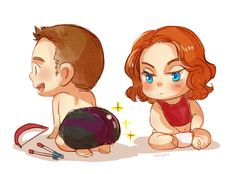 Baby Avengers: Clint and Nat (by kadeart)
