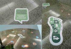 Adesivo vinil impresso e aplicado em piso com laminação antiderrapante.