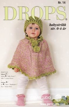 Knitted poncho with pompons and socks in DROPS Alpaca, and crochet hat in DROPS Eskimo. Available in baby and children sizes. Baby Knitting Patterns, Baby Sweater Knitting Pattern, Knitted Poncho, Knitting For Kids, Baby Patterns, Free Knitting, Crochet Patterns, Drops Design, Bonnet Crochet
