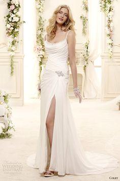colet bridal 2015 style 52 coab15207iv spagetti strap sheath draped wedding dress slit