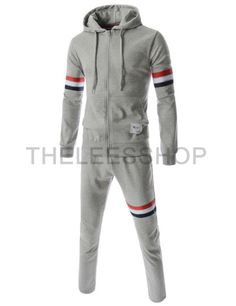 (MZS104-GRAY) Mens Slim Fit Sporty Stripe Patch Casual Training Jacket Pants Set