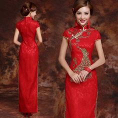 Sequin embroidered peacock red lace long cheongsam wedding dress