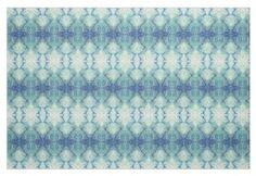 Blue Green & White Coastal Fabric 'Lake Michigan'