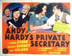 Lobby card for Andy Hardy's Private Secretary (1941) starring Mickey Rooney, Lewis Stone and Kathryn Grayson.