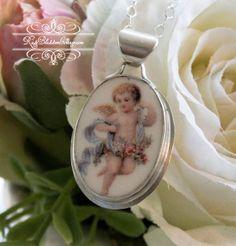 Sweet little broken china jewelry piece set in sterling...http://www.roseblossomcottage.com