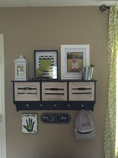 Cute shelf above our mud bench made by my hubby!
