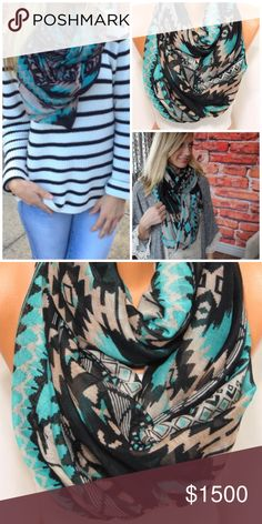 •Aztec Tribal Print Infinity Scarf• 🦋COMING SOON🦋will be $15, like this listing to be notified of arrival.  EUC, washed & worn once.  Colors turquoise, tan & black. Accessories Scarves & Wraps
