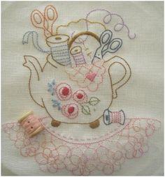 Stitching tea pot embroidery