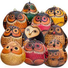 Owls - Mix of 20 - Gourd Ornaments, assorted designs - Lucuma Designs