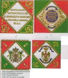 Bandiere di guerra dei rgt. Granatieri, fucilieri, guardie d'onore e cacciatori italiani