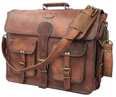 Men s Genuine Leather Vintage Laptop Handmade Briefcase Bag Satchel  Messenger  fashion  clothing  shoes 04be998f8b