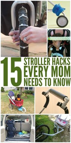 15 Stroller Hacks Every Mom Needs to Know. Great ways to simplify your mommy (or daddy) life! Best stroller tips.
