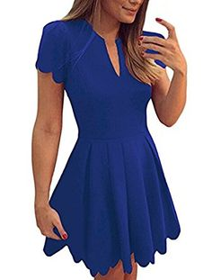 4b7e9e396e4 Sidefeel Women Cute V Neck Sweet Scallop Pleated Skater Dress at Amazon Women s  Clothing store