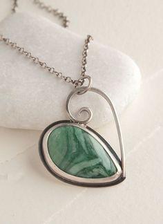 Africian Grossularite Garnet Heart Pendant by SilverRockDesign, $92.00: