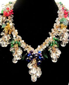 """Rare Vtg 16""""x3"""" Signed Miriam Haskell Brass Glass Grapes Leaves Dangle Necklace #MiriamHaskell #StrandString"""