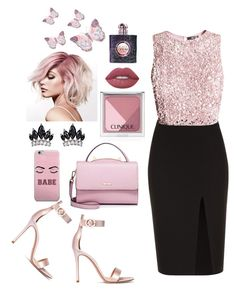 """""""Pink💕"""" by fllodeea ❤ liked on Polyvore featuring Gianvito Rossi, A.L.C., WithChic, Fallon, Clinique, Lime Crime and Yves Saint Laurent"""