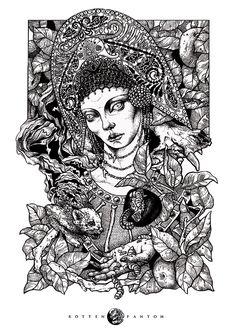 By Rotten Fantom #bleaq #dark #illustration #drawing