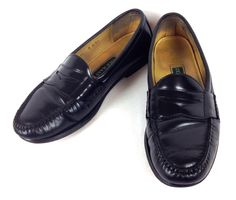 COLE HAAN Shoes MENS 11 Black LEATHER Slip On LOAFERS Penny DRIVING Dress - Casual
