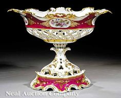 mid-19th c., magenta ground with gilt arabesques and polychrome floral