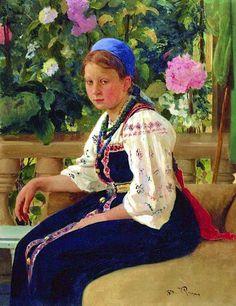 Russian costume in painting. Ilya E. Repin. Portrait of Sofia F. Mamontova. 1879.