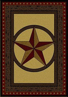 Tooled Leather Star Rug. Pinned from. cabinplace.com