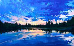 Around Us Canvas Artwork by Alena Aenami R Wallpaper, Couple Wallpaper, Laptop Wallpaper, Design Spartan, Lake Pictures, Emotion, Canvas Artwork, Landscape Art, Landscape Wallpaper