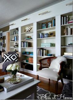 Billy bookcases ... Amazing look w/o breaking the bank. None of the pieces shown are hugely expensive ... Just put together with strong, spare accessories.