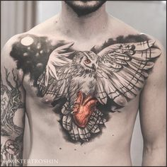 Owl Holding Heart Chest Tattoo | Best tattoo design ideas #heart #tattoo #tattooideas