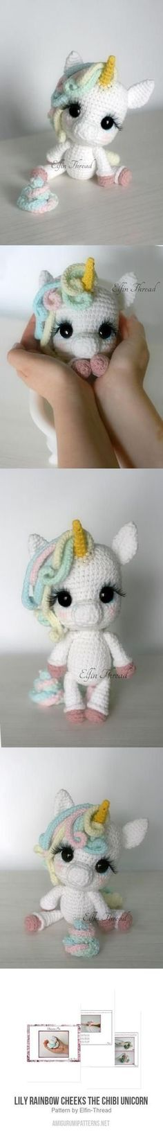 Crochet - amigurumi Lily Rainbow Cheeks the Chibi Unicorn amigurumi pattern Crochet Diy, Crochet Amigurumi, Amigurumi Patterns, Crochet Crafts, Crochet Dolls, Yarn Crafts, Knitting Patterns, Crochet Patterns, Yarn Projects