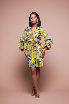 Smart, sophisticated, and wonderfully elegant, this Long Sleeves African Print Shirt Midi Dress with its matching Belt will look just. African Print Shirt, African Print Dresses, African Fashion Dresses, African Dress, Fashion Outfits, African Outfits, Fashion Ideas, Fashion Styles, African Clothes