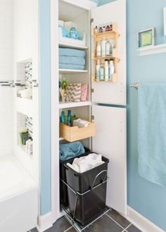 closet bathroom makeover modern bathroom storage packed small bathroom smart bathroom planning keeps necessities handy and out of the way an organizer on the closet bathroom closet images Small Bathroom Storage, Bathroom Organization, Organization Ideas, Organized Bathroom, Bathroom Ideas, Bathroom Remodeling, Small Storage, Small Bathrooms, Remodeling Ideas