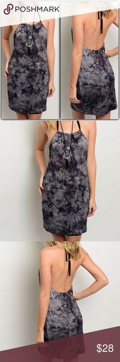 Black Gray Tie Dye Halter Dress New Black Gray Tie Dye Halter Dress. 95% Rayon 5% Spandex. New Dresses