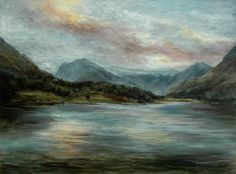 Late Evening, Lake Buttermere Lake District, Cumbria in England Oil painting by Sue Lawson
